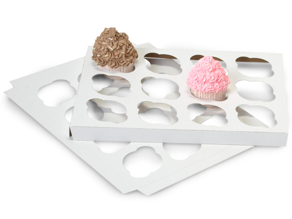 Cupcake Inserts, Holds 12 Cupcakes, 13-15/16x9-15/16x7/8,  100 Pack