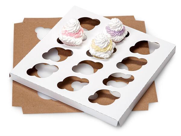 "Mini Cupcake Inserts, Holds 12, 9-15/16x9-15/16x3/4"", 100 Pack"
