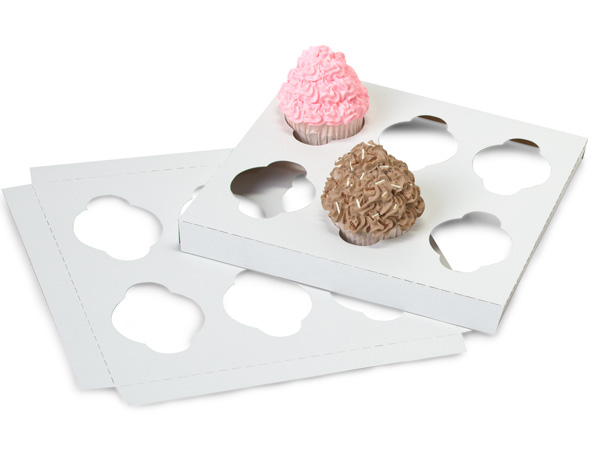 "Cupcake Inserts, Holds 6 Cupcakes, 9-15/16x9-15/16x7/8"", 100 Pack"