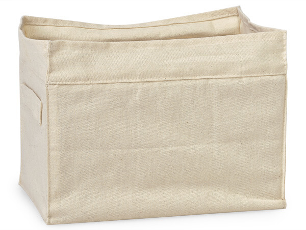 Cotton Canvas Container, 10x6x7-1/2 Side Handles