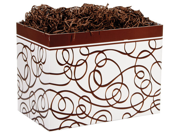 Large Chocolate Drizzle Basket Boxes 10-1/4x6x7-1/2""