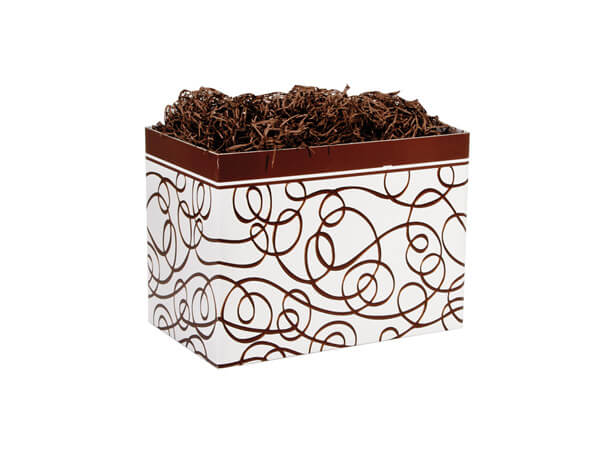 """Small Chocolate Drizzle Basket Boxes 6-3/4x4x5"""""""