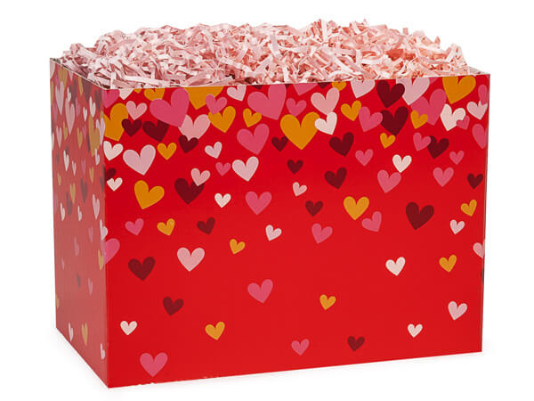 "Confetti Hearts Basket Boxes, Large 10.25x6x7.5"", 6 Pack"