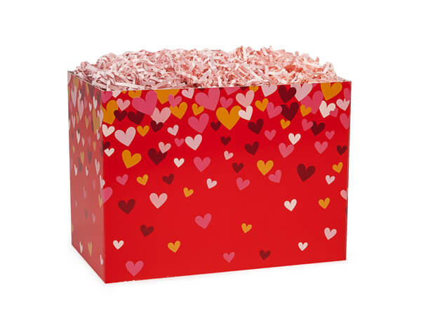 "Confetti Hearts Basket Boxes, Small 6.75x4x5"", 6 Pack"