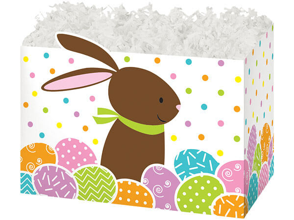 """Chocolate Bunny Basket Boxes, Large 10.25x6x7.5"""", 6 Pack"""