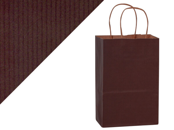 "*Chocolate Brown Shadow Stripe Bags Rose 5.5x3.25x8.375"", 25 Pack"