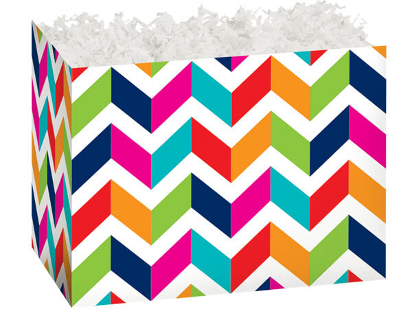 Large Chevron Chic Basket Boxes 10-1/4x6x7-1/2""