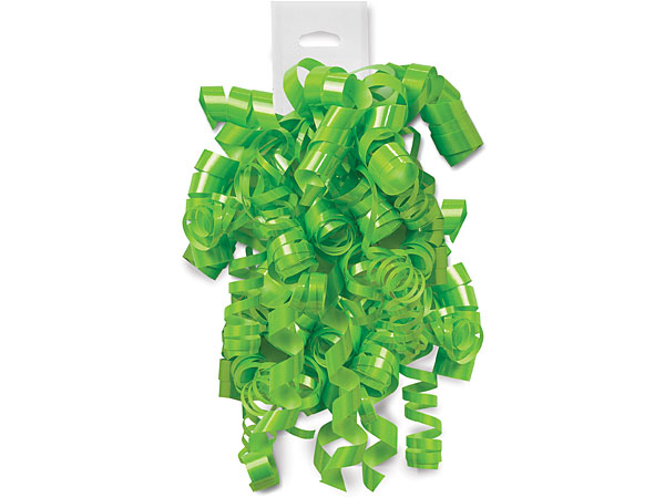 Citrus Green High Gloss Peel and Stick Curly Gift Bows, 12 Pack