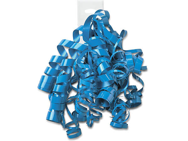 Electric Blue High Gloss Peel and Stick Curly Gift Bows, 12 Pack
