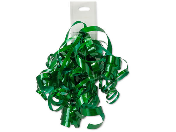 Green High Gloss Self Adhesive Curly Gift Bows, 12 Pack