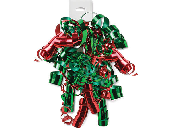 Metallic Green & Red Curly Bows 12 Strands on Hang Tab