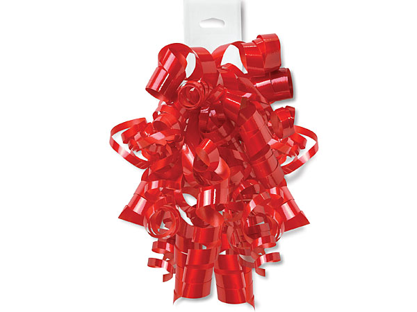 Hot Red Gloss Curly Bows