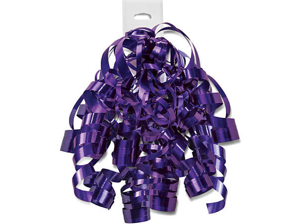 Purple Punch High Gloss Self Adhesive Curly Gift Bows, 12 Pack
