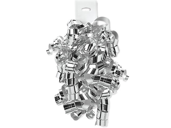 Metallic Silver Self Adhesive Curly Gift Bows, 12 Pack