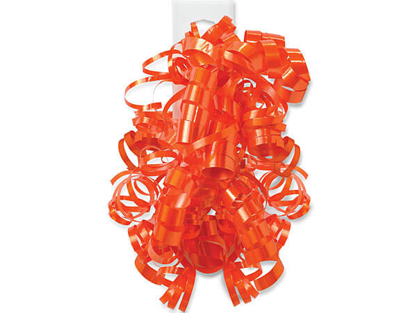 Tropical Orange Self Adhesive Curly Gift Bows, 12 Pack