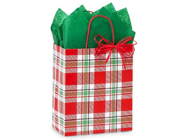 """Christmas Plaid Paper Shopping Bags, Cub 8x4.75x10.25"""", 250 Pack"""