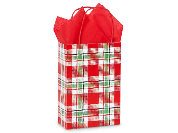 "Christmas Plaid Paper Shopping Bags, Rose 5.5x3.25x8.5"", 250 Pack"