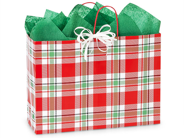 "Christmas Plaid Paper Shopping Bags, Vogue 16x6x12"", 25 Pack"