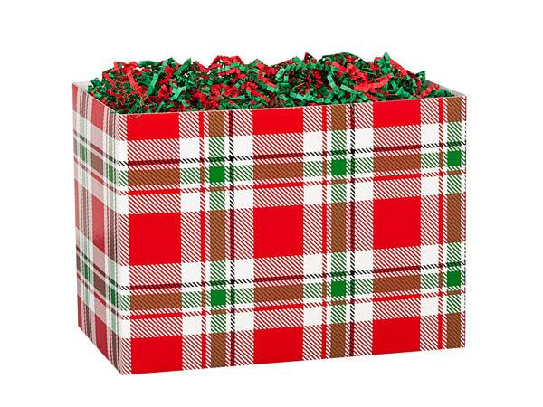 "Christmas Plaid Basket Boxes, Small 6.75x4x5"", 6 Pack"