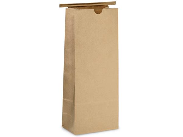 "100 2 lb Kraft Tin Tie Coffee Bags 5x3x12-1/2"""