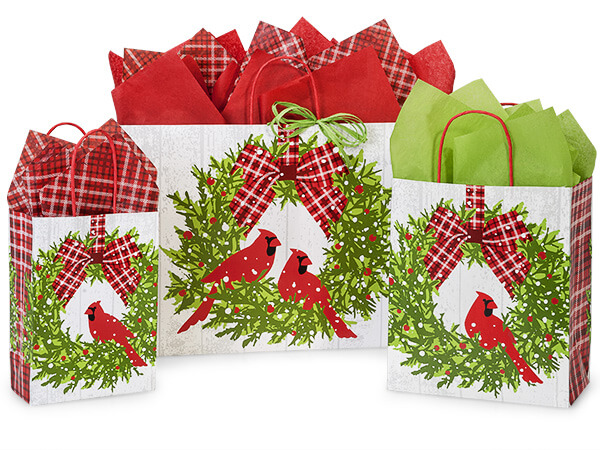 Christmas Plaid Cardinal Shopping Bags