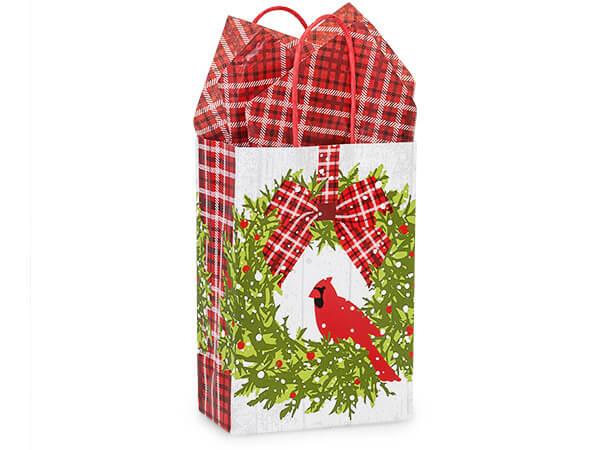 "Christmas Plaid Cardinal Shopping Bags, Rose 5.5x3.25x8.5"", 250 Pack"