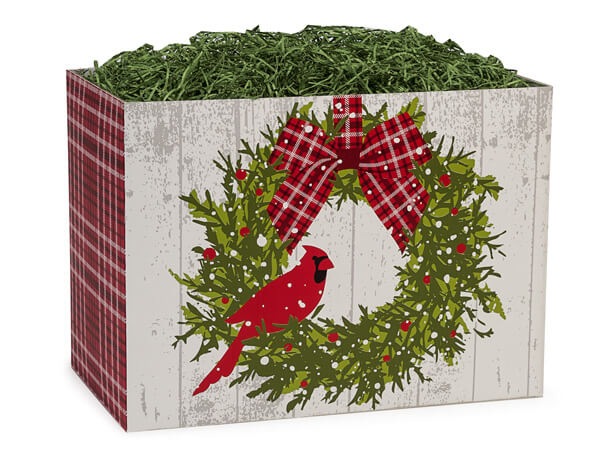 Large Christmas Plaid Cardinal Basket Boxes 10-1/4x6x7-1/2""