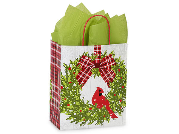 "Christmas Plaid Cardinal Shopping Bags, Cub 8x4.75x10.25"", 25 Pack"