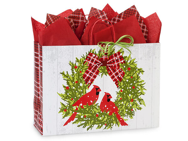 Vogue Christmas Plaid Cardinal 25 Paper Bags 16x6x12""