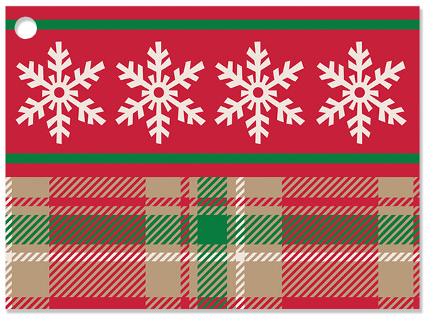 **Christmas Snowflake Plaid Gift Cards 3-3/4x2-3/4""