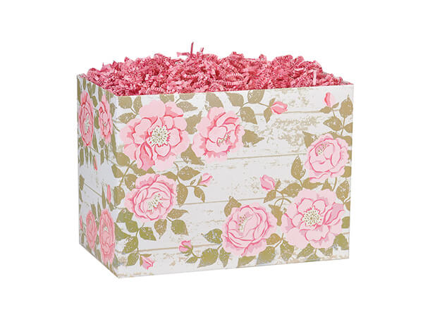 """Cottage Rose Garden Basket Box, Small 6.75x4x5"""", 6 Pack"""