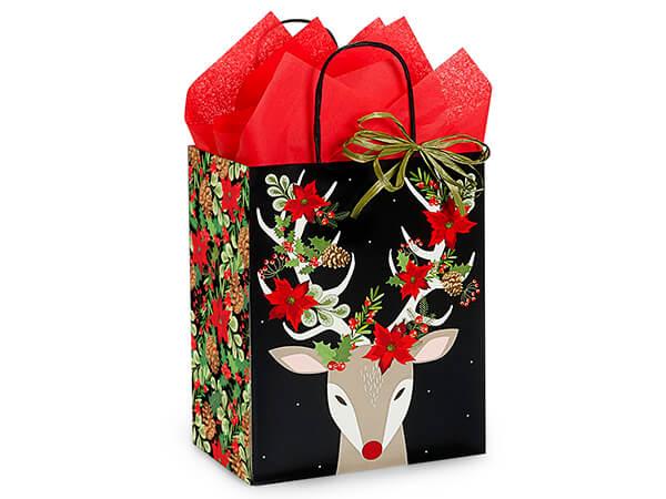"Christmas Reindeer Shopping Bags, Cub, 8x4.75x10"", 25 Pack"
