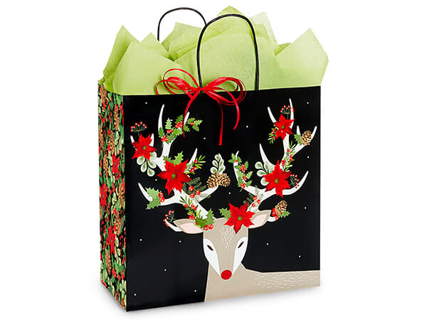 """Christmas Reindeer Shopping Bags, Filly, 13x7x13"""", 25 Pack"""