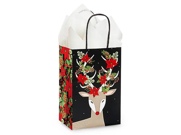 "Christmas Reindeer Shopping Bags, Rose, 5.25 x 3.5 x 8.25"", 25 Pack"