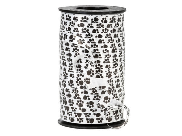 "Black Paw Prints On White Curling Ribbon, 3/8""x250 yards"