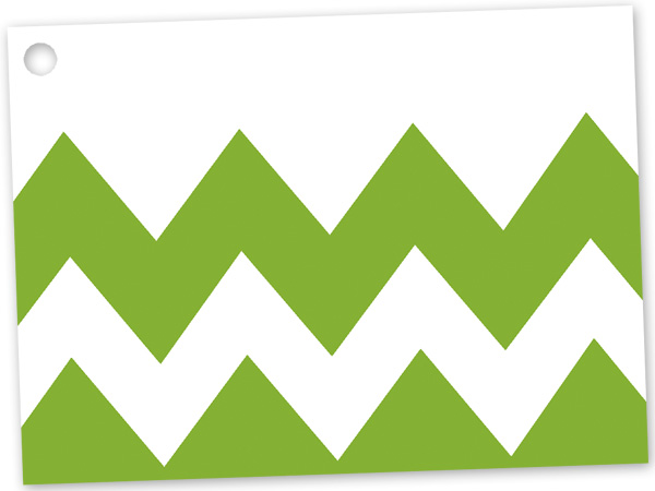 *Apple Green Chevron Theme Gift Car 3-3/4x2-3/4""