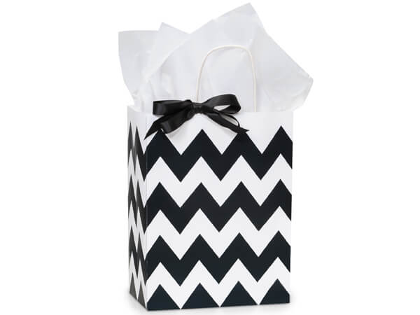 Cub Chevron Stripe Black 250 Bags 8-1/4x4-3/4x10-1/2""