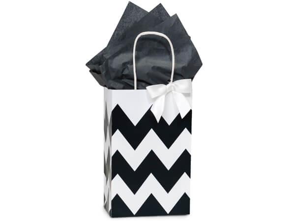 "*Black Chevron Stripe Shopping Bags, Rose 5.25x3.5x8.25"", 250 Pack"
