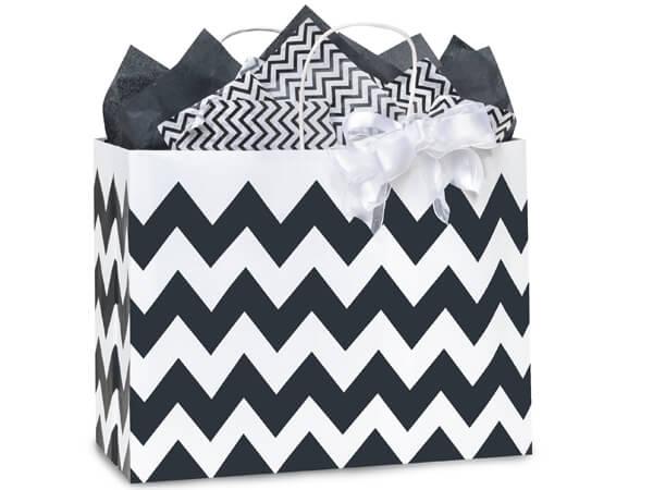 """Vogue Chevron Stripe Black 250 Bags 16x6x12-1/2"""""""