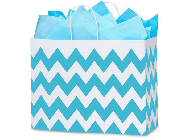 "*Turquoise Chevron Stripe Shopping Bags, Vogue 16x6x12.5"", 250 Pack"