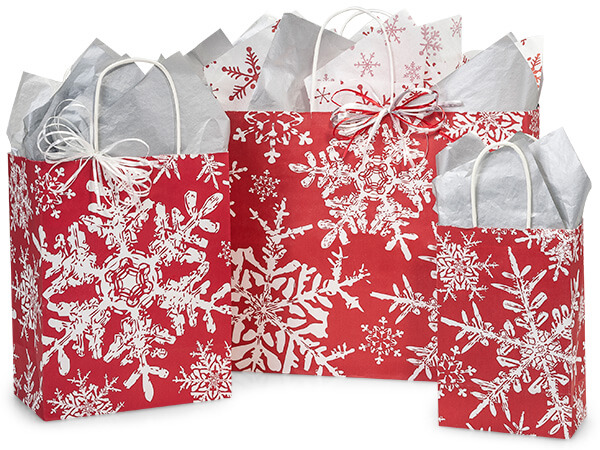 Christmas Snowflakes Red Paper Shopping Bags