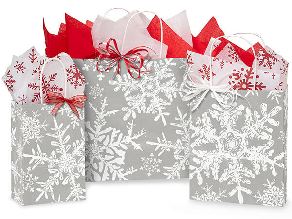 Christmas Snowflakes Silver Paper Shopping Bags, Assortment 125 Pack