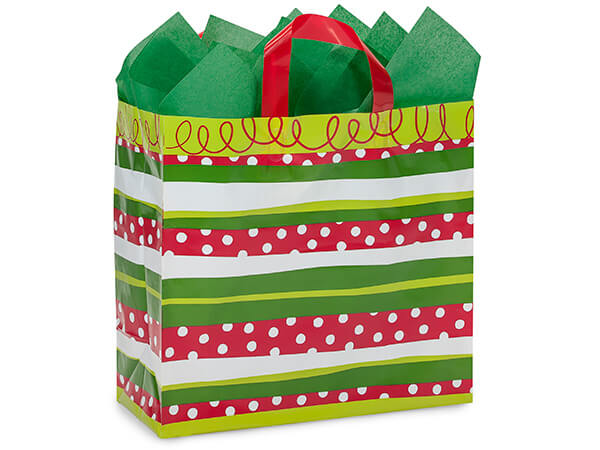 buffalo plaid matte christmas gift bags