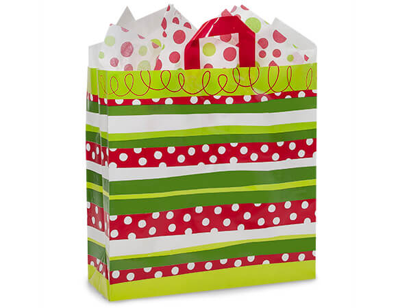 "Christmas Stripe Plastic Gift Bags, Queen 16x6x16"", 100 Pack"