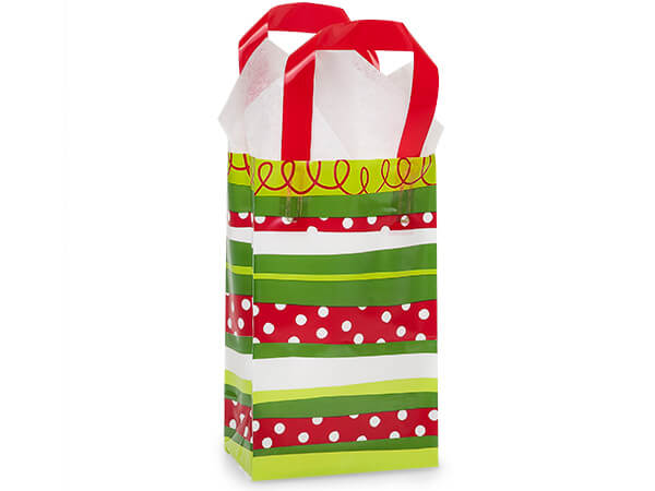 "Celebration Stripe Plastic Gift Bags, Rose 5.25x3.25x8.5"", 250 Pack"