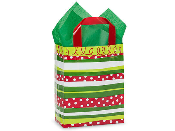 "Celebration Stripe Plastic Gift Bags, Cub 8x4x10"", 25 Pack"