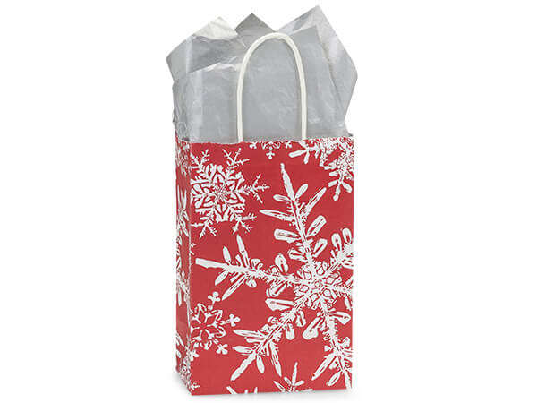 """Christmas Snowflakes Red Shopping Bags, Rose 5.25x3.5x8.25"""", 25 Pack"""