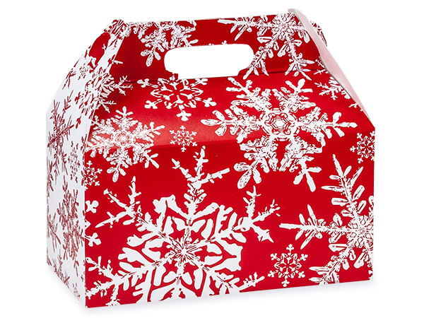 Christmas Snowflakes Red Gable 9-1/2 x 5 x 5""