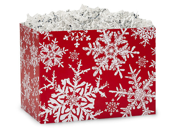 Large Christmas Snowflakes Red Basket Boxes 10-1/4x6x7-1/2""