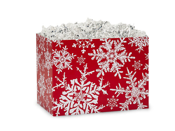 Small Christmas Snowflakes Red Basket Boxes 6-3/4x4x5""